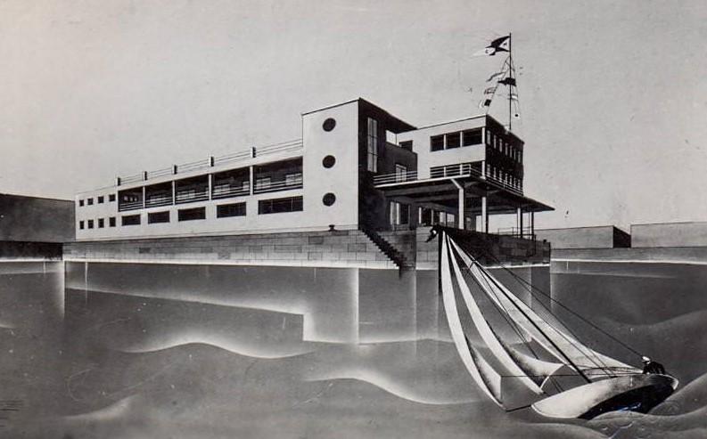 El proyecto del Club Marítimo de Vigo del que hubiera sido el nuevo Club en 1935, ocupando las actuales instalaciones náuticas viguesas (Colección Seoane & Prado)